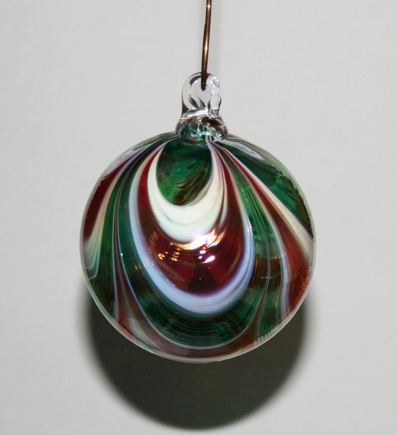 Hand blown glass christmas ornament red white green