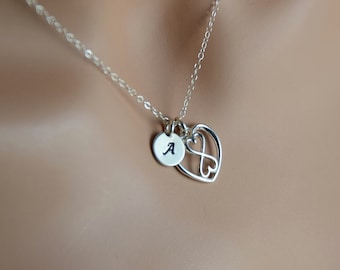 Infinity Heart Initial Necklace, Sterling silver infinity heart necklace, extra long necklace, Initial Sterling Jewelry