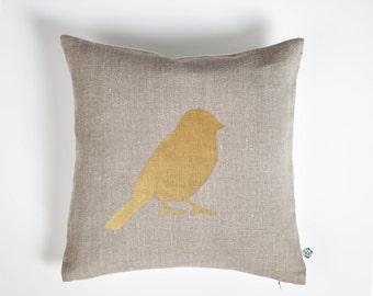 Bird throw pillow - decorative bird pillow cover - throw pillow - gold bird print on pillow - bird on branch pillow - linen pillow- 0404