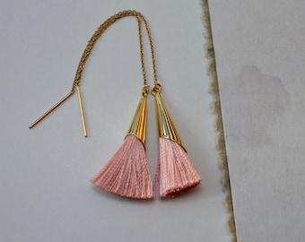 Apricot Tassel Earrings, Pale Pink Threader Earrings, Gold Fill Earrings, Tassel Jewelry, Pink Drop Earrings, Long Earrings, Girlfriend Gift