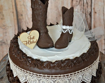 cowgirl Just hitched western wedding cowboy boot cake topper western bride and groom barn ranch farm tractor wedding cowboy decorated boots