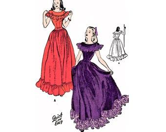 "1946 Basque Dancing Dress, Fitted Bodice Drop Waist, Dropped Shoulder Ruffled Yoke, Hem Ruffle, Butterick 4005, Bust 34"", Unprinted Unused"