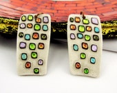 Ceramic rectangular Earrings Colorful handpainted Earrings Resin covered jewelry Unique jewelry