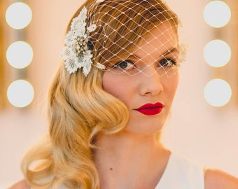 Persephone Vintage Diamante Brooch Birdcage Wedding Veil