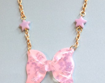 Magical Pastel Bow Necklace with Holographic Stars and Pink Star Beads