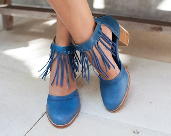 HERMOSA. Leather heel shoes / women shoes / high heels / leather shoes / fringe shoes / boho . Sizes 35-43. Available in different colors