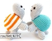 Crochet kit Tony Turtle - Amigurumi toy - DIY kit