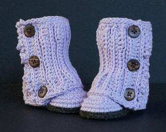 Crochet Baby Shoes, Crochet Baby Booties, Baby Shower Gift, Purple Baby Shoes, Baby Girl Shoes, Baby Girl Booties, Handmade, Purple / Brown