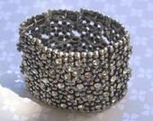 Vintage Crystal Studded Stretch Bracelet, Wide Stretch Bracelet, Silver Bead Mesh Bracelet, Statement Bracelet, Wedding Bling Bracelet