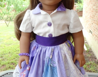 "18"" Doll Clothes Purple Patchwork Skirt Set Disney Princess Theme For American Girl"
