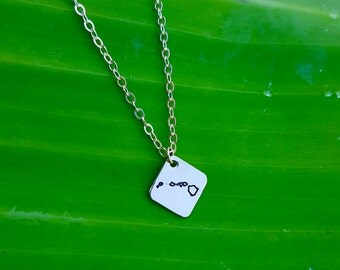 Hawaiian Islands Stamped Necklace Small Square, Sterling Silver, 14K Gold Filled, Hawaii Necklace Engraved. Big Island, Oahu, Maui, Kauai