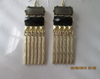 SALE Black and Gold Tone Earrings with Gold Tone Charm Dangles