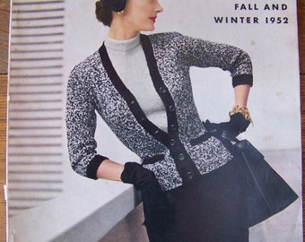 Vintage Vogue Knitting Book 1952 Fall and Winter.Vintage 1950's Knitting Patterns.Vintage Men's Clothing.Vintage Women's Clothing.50s Style.