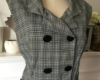 50s Jerry Gilden Plaid Shirt Waist Summer Dress