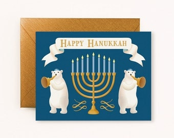 Polar Bears Hanukkah Card