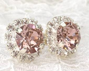Blush Earrings Blush Pink Wedding Pink Blush Bridesmaids Pink Wedding Blush Swarovski Crystal Petite Blush Bridal Morganite Silver Earrings