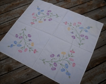 SPRING SALE--Vintage Embroidered Tablecloth, Heavy Cotton, Lovely Floral Design