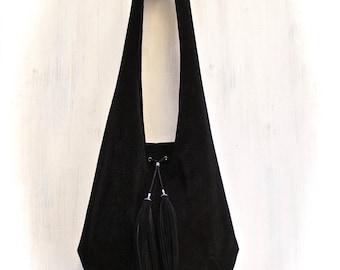 leather hobo bag, black suede shoulder bag, italian leather bag