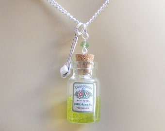 Absinthe Necklace, Miniature Bottle Necklace, Absinthe Pendant, Miniature Food Necklace, Food Jewellery, Mini Food Jewelry, Absinthe Bottle