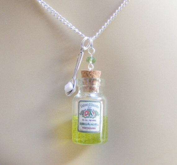 Absinthe Necklace, Miniature Bottle Necklace, Absinthe Pendant, Miniature Food Necklace, Food Jewellery, Mini Food Jewelry, Absinthe Bottle