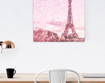 Pink Eiffel Tower Canvas - Pink Paris Print - Paris nursery