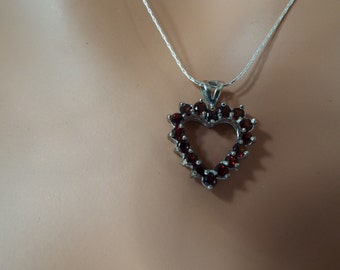 "sterling silver garnet heart pendant necklace 18"" chain 1"" heart 16 stones"