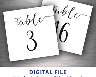 Small table numbers 4x4 Printable wedding table number 1-30 Instant download file Black and white party Minimalist script font Calligraphy