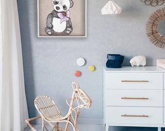 Printable Art - Clorful Teddy Bear Panda Drawing Printable - Kids Wall Art - Nursery Room Decor - INSTANT DOWNLOAD