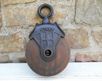 Antique Wood and Cast Iron Pulley Rustic Farmhouse Industrial Decor Hanging Ashland Myers Barn Hayloft Pulley