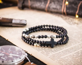 4mm - Set of 3 - Matte black onyx beaded stretchy bracelet with sterling silver beads and black cross, mens bracelet, mens beaded bracelet