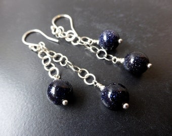 Blue goldstone and silver earrings, long chain drop