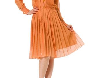 1980s Sailor Pleated Long Sleeve Shirt Dress SIZE: S, 4