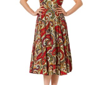 1950s Paisley Rockabilly Cotton Print Dress SIZE: XS, 2