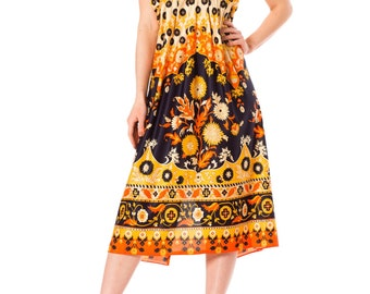 Vintage 1970s Wall Paper Psychedelic Mod Strappy Midi Dress  Size: XS/S/M