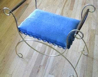 Mid Century Upholstered Blue Velveteen Vanity Stool