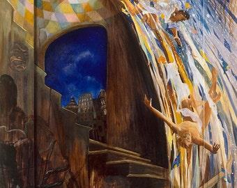 Fall of Lucifer, oil on canvas Giclée print