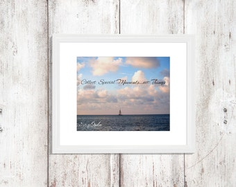 "Sailboat Saying Quote ""Collect Special Moments...not Things"" Sky Clouds Ocean Sand Blue Water Photo Beach Chic Wall Decor"