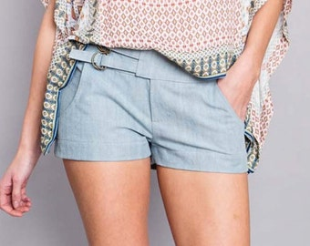"denim shorts ""busy Lizzie"", bright"