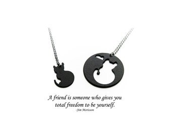 Cat best friends necklaces,bff,bff necklace,bff gift,best friends,best friend,friends,friend gift,cat,cat bff,cat best friend,cat jewelry