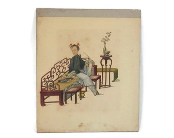 19th Century Opium Den Female Smoker with Bound Lotus Feet Pith Painting Qing Dynasty