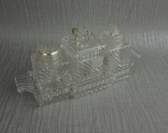 Small Pressed Glass Cruet Condiment Set Salt and Pepper and Mustard Pot in Serving Tray
