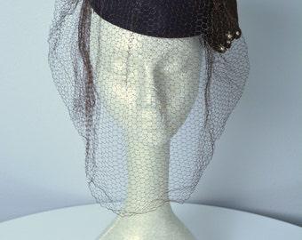 Vintage 1940s 40s Tilt Hat with Veil New York Creations
