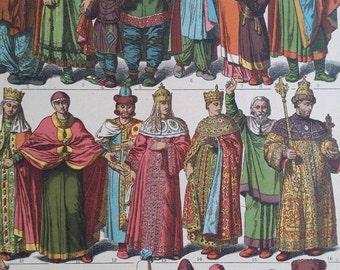 1890s Vintage Color Print Eastern Slavs Russia Costume Hottenroth, Wall Art Deco