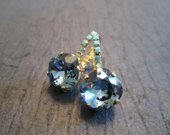 Turquoise and Montana Blue Swarovski Earrings/Blue Crystal Earrings/Bridesmaid Earrings/Blue Montana Crystal Earrings/Statement Earrings
