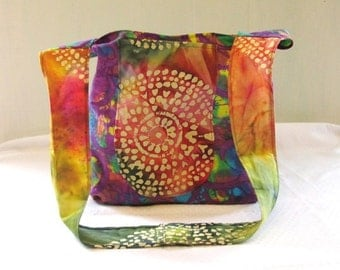 Boho Hippie Cross Body Bag Rainbow and Purple Batik Sling Tote Bag Pockets Over the Shoulder Hobo Slouch Style Womens Summer Fabric Purse