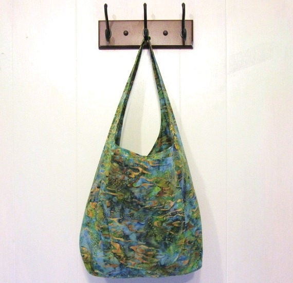 Green Batik Fabric Tote Bag with Two Pockets Cloth Shoulder