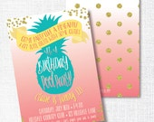 PINEAPPLE POOL PARTY birthday invitation pink coral gold glitter teal aqua tween invitation grauduation party like a pineapple tutti frutti