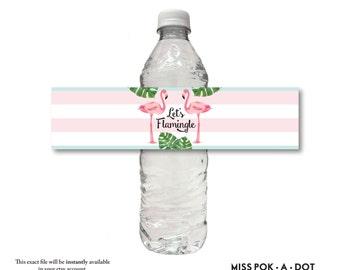 LET'S FLAMINGLE flamingo palm pink aqua black stripe water bottle label wrap sticker instant digital download diy printable file
