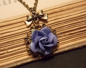 Bronze and Purple Paper Rose Necklace