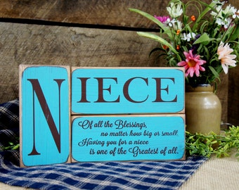 3 Piece Block Set - Niece - Of All The Blessings No Matter How...